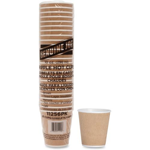 Genuine Joe Rippled Hot Cup - 295.74 mL - 25 / Pack - Brown - Beverage, Hot Drink