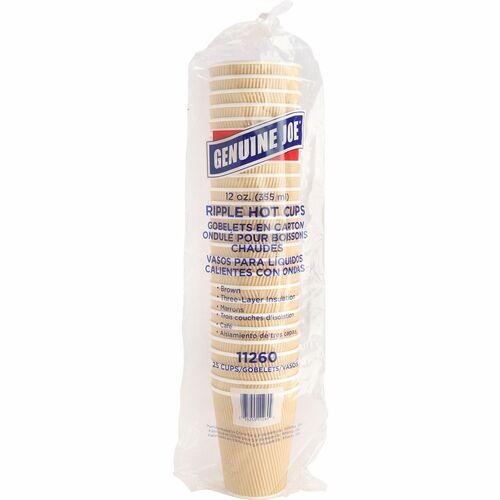 Genuine Joe Rippled Hot Cup - 354.88 mL - 25 / Pack - Brown - Beverage, Hot Drink