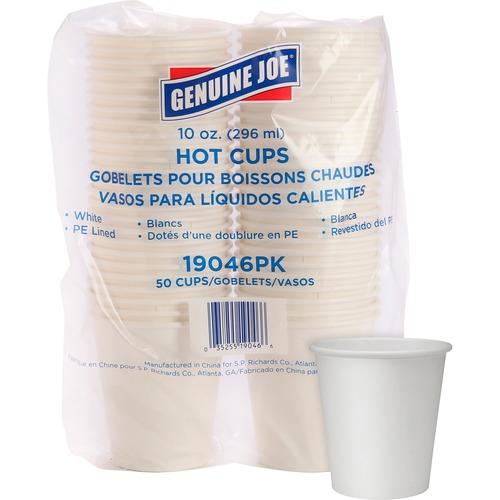 Genuine Joe Polyurethane-lined Disposable Hot Cups - 295.74 mL - 50 / Pack - White - Polyurethane - Beverage, Hot Drink