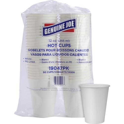 Genuine Joe Polyurethane-lined Disposable Hot Cups - 354.88 mL - 50 / Pack - White - Polyurethane - Beverage, Hot Drink