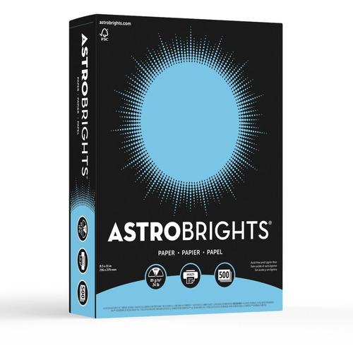 """Astrobrights Inkjet, Laser Colored Paper - Lunar Blue - Letter - 8 1/2"""" x 11"""" - 24 lb Basis Weight - Smooth - 500 / Pack"""