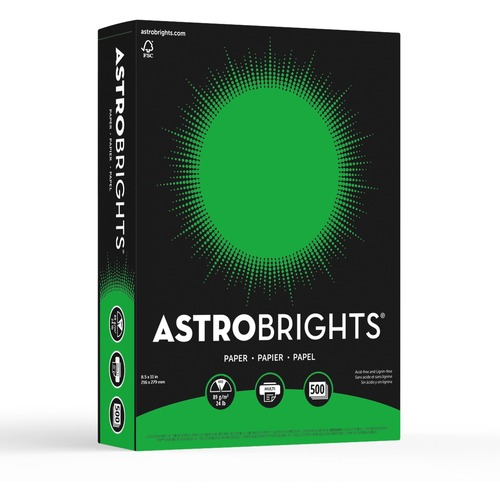 """Astrobrights Inkjet, Laser Colored Paper - Gamma Green - Recycled - Letter - 8 1/2"""" x 11"""" - 24 lb Basis Weight - Smooth - 500 / Pack"""