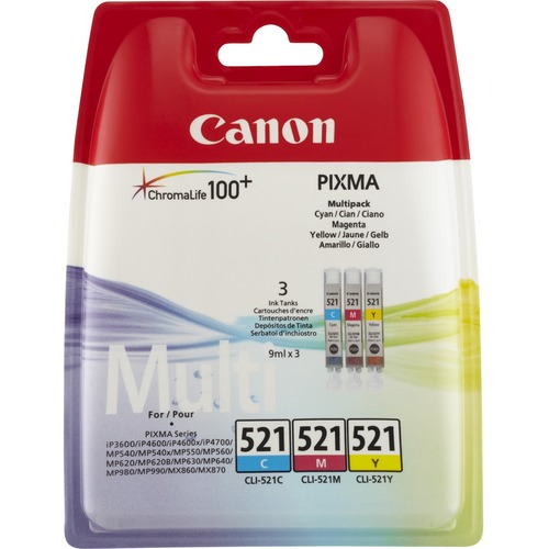 Canon CLI-521 Ink Cartridge - Cyan, Magenta, Yellow