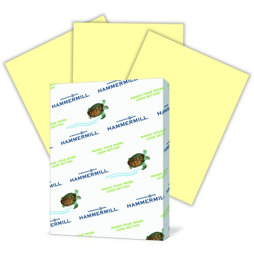 """Hammermill Fore Colored Paper - Canary - Recycled - Letter - 8 1/2"""" x 11"""" - 20 lb Basis Weight - 500 / Pack"""