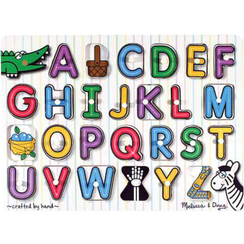 Melissa & Doug See-Inside Alphabet Peg Puzzle - 26 Pieces - Theme/Subject: Learning - Skill Learning: Fine Motor, Pre-reading, Visual Perception, Eye-hand Coordination, Letter Recognition, Guessing - 3 Year & Up - 26 Pieces