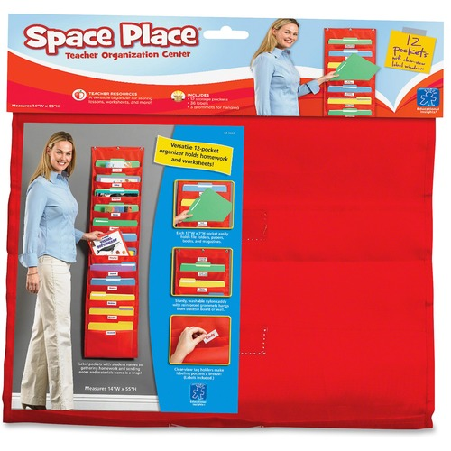 """Educational Insights The Space Place Pocket Chart - 12 Pocket(s) - 55"""" Height14"""" Length - Durable, Washable - Multi - Nylon - 1 Each"""