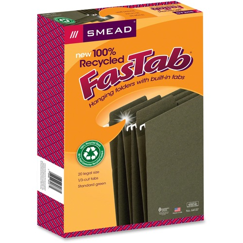 """Smead 100% RecycledFasTab Hanging Folders - Legal - 8 1/2"""" x 14"""" Sheet Size - 1/3 Tab Cut - Top Tab Location - Assorted Position Tab Position - 11 pt."""