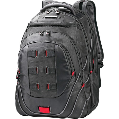 "Perfect Fit Backpack, Adjustable, 13""x9""x19"", Black/Red"