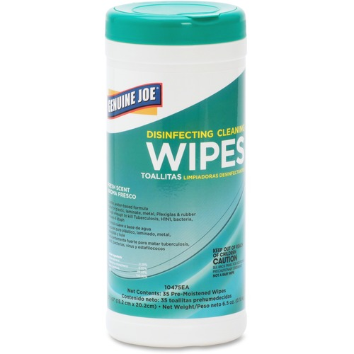 """Genuine Joe Fresh Scent Disinfecting Cleaning Wipes - Wipe - Fresh Scent - 6"""" Width x 8"""" Length - 35 / Canister - 6 / Carton - White"""
