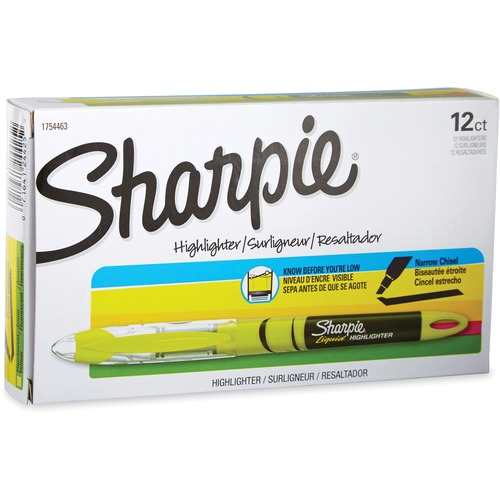 Sharpie Accent Highlighter - Liquid Pen - Micro Marker Point - Chisel Marker Point Style - Yellow Pigment-based Ink - 12 / Dozen