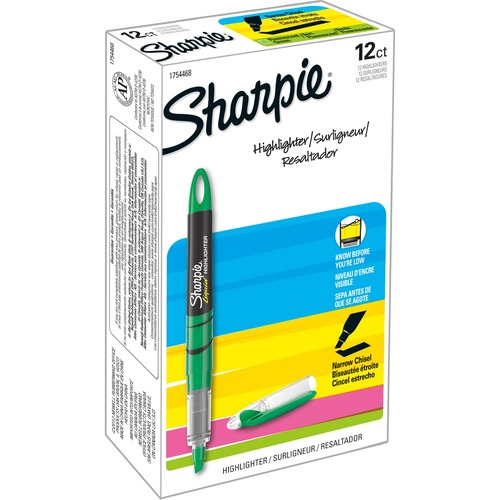 Sharpie Accent Highlighter - Liquid Pen - Micro Marker Point - Chisel Marker Point Style - Fluorescent Green Pigment-based Ink - 12 / Dozen