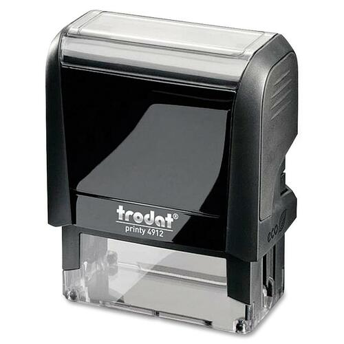 "Trodat Original Printy - Custom Message Stamp - 0.71"" (18 mm) Impression Width x 1.85"" (47 mm) Impression Length - Black - Plastic - 1 Each"