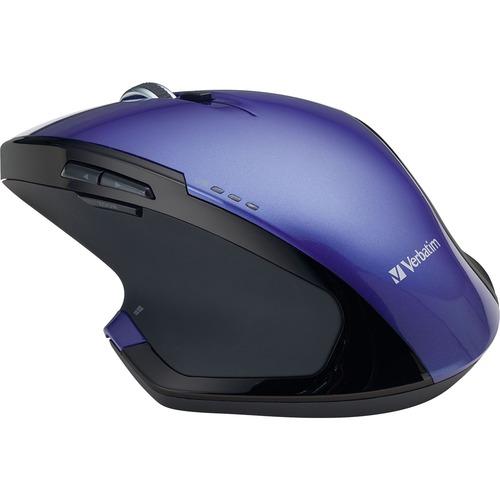 Verbatim Wireless Desktop 8-Button Deluxe Blue LED Mouse | Purple