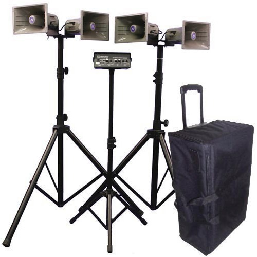 AmpliVox Deluxe Wireless Quad Horn Half-Mile Hailer Kit