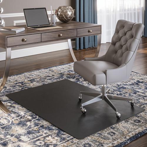 """Deflecto Black Economat for Carpet - Floor, Office, Carpeted Floor, Breakroom - 53"""" Length x 45"""" Width - Rectangle - Vinyl - Black"""