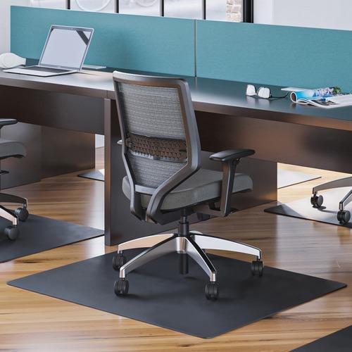"""Deflecto Black EconoMat for Hard Floors - Hard Floor, Office, Carpeted Floor, Breakroom - 60"""" Length x 46"""" Width - Rectangle - Vinyl - Black"""