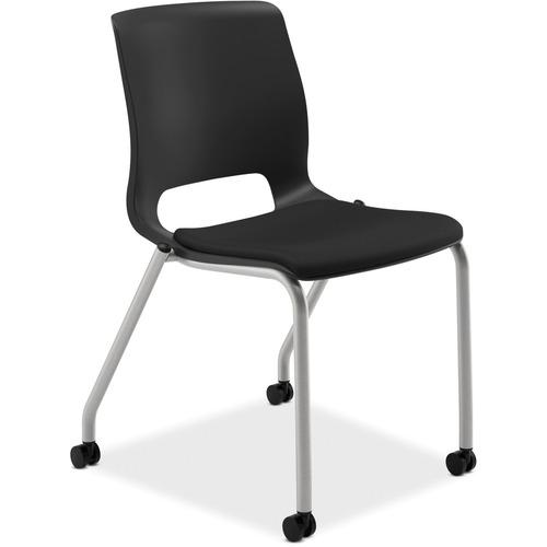"HON Motivate Stacking Chairs, 2-Pack - Black Fabric Seat - Black Polypropylene Back - Platinum Frame - Four-legged Base - 23"" Width x 21"" Depth x 32.3"