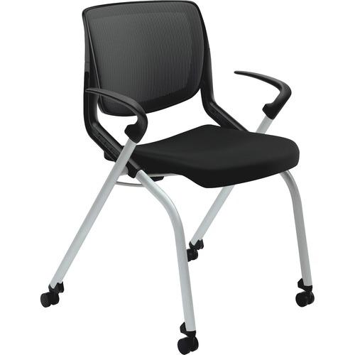 "HON Motivate Nesting / Stacking Chair - Black Fabric Seat - Black Fabric Back - Platinum Metallic Frame - Four-legged Base - 26.8"" Width x 34"" Depth x"