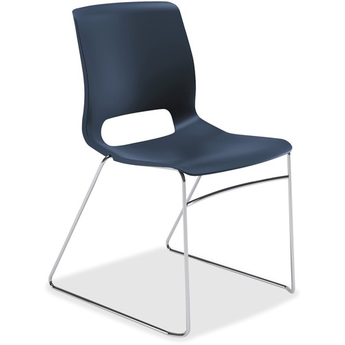 "HON Motivate Stacking Chairs, 4-Pack - Regatta Plastic Seat - Regatta Polypropylene Back - Silver Frame - Sled Base - 23"" Width x 21"" Depth x 32.3"" He"