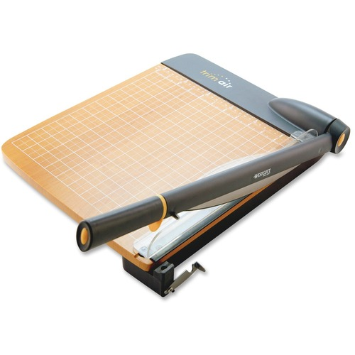 "Westcott Trim Air Wood Guillotine Paper Trimmer - Cuts 30Sheet - 18"" (457.20 mm) Cutting Length - Curve Cutting - 3.50"" (88.90 mm) Height x 14.25"" (361.95 mm) Width x 26.63"" (676.28 mm) Depth - Wood Base, Titanium Blade - Transparent, Walnut"