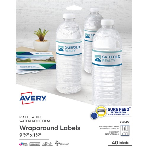 Avery® Durable Water-resistant Wraparound Labels - Permanent Adhesive - Rectangle - Laser, Inkjet - White - Film - 5 / Sheet - 8 Total Sheets - 40 Total Label(s) - 40 / Pack