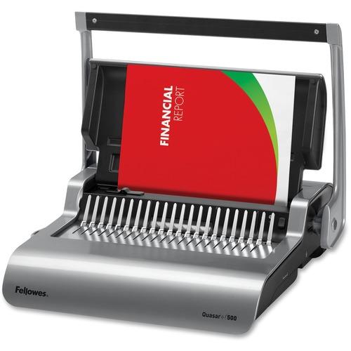"Fellowes Quasar™+ 500 Comb Binding Machine w/ Starter Kit - CombBind - 500 Sheet(s) Bind - 25 Punch - 5.13"" (130.30 mm) x 18.13"" (460.50 mm) x 15.38"" (390.65 mm) - Metallic Silver, Black"