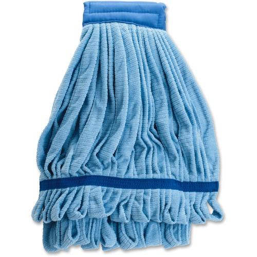 Genuine Joe Microfiber Wet Mophead Refill - MicroFiber - Blue