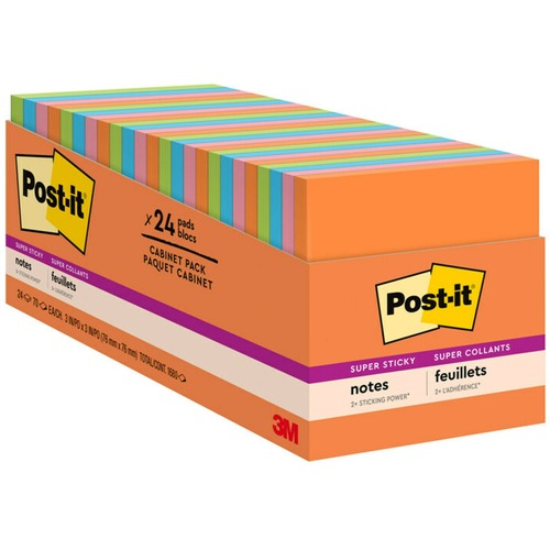 """Post-it® Super Sticky Notes Cabinet Pack - Rio de Janeiro Color Collection - 1680 - 3"""" x 3"""" - Square - 70 Sheets per Pad - Unruled - Assorted - Pa"""