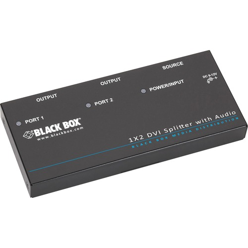 Black Box DVI-D Splitter with Audio and HDCP, 1 x 2