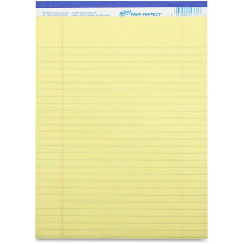 """Hilroy Micro Perforated Business Notepad - 50 Sheets - 0.31"""" Ruled - 8 3/8"""" x 10 7/8"""" - Yellow Paper - Micro Perforated, Easy Peel - 10 / Pack"""