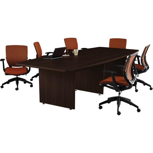 """Offices To Go 120"""" Boatshaped Conference Table - 120"""" x 48"""" x 29"""" x 1.1"""" - Material: Polyvinyl Chloride (PVC) - Finish: Dark Espresso, Laminate"""