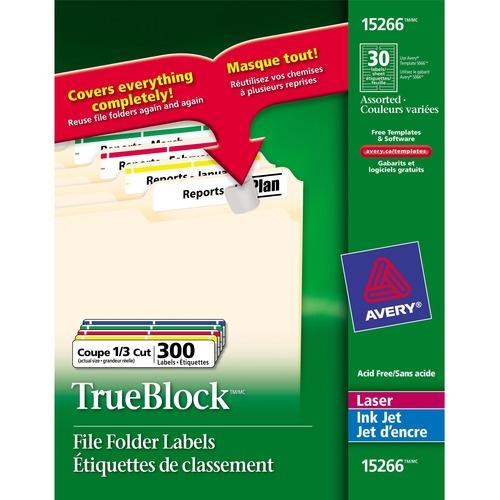 "Avery® TrueBlock File Folder Label - 3 7/16"" x 21/32"" Length - Permanent Adhesive - Laser, Inkjet - Assorted - 30 / Sheet - 300 / Pack"