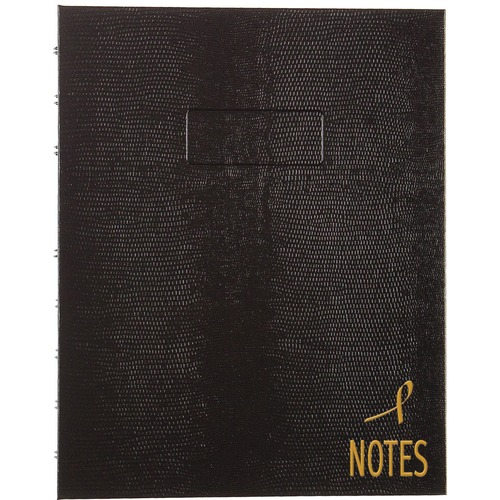 """Blueline Pink Ribbon Collection - NotePro Notebook - 150 Pages - Twin Wirebound - Ruled - 7 1/4"""" x 9 1/4"""" - White Paper - Black Cover Lizard - Micro Perforated, Index Sheet, Self-adhesive Tab, Storage Pocket, Environmentally Friendly, Hard Cover - Recycle"""
