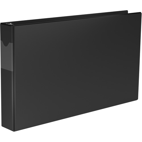 """QuickFit QuickFit Round Ring Deluxe Spreadsheet Binder - 1 1/2"""" Binder Capacity - Legal - 8 1/2"""" x 14"""" Sheet Size - Round Ring Fastener(s) - Black - Recycled - Heavy Duty - 1 Each"""