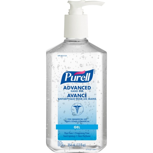 PURELL® Sanitizing Gel - Fragrance-free Scent - 354.88 mL - Kill Germs, Bacteria Remover - Hand - Clear - 1 Each