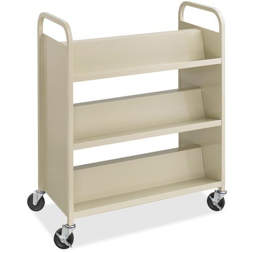 "Safco Steel Shelf Double-Sided Book Carts, 6-Shelf Cart - 6 Shelf - 2.50"" (63.50 mm) Caster Size - Steel - x 36"" Width x 18.5"" Depth x 43.5"" Height - Sand - 1 Each"