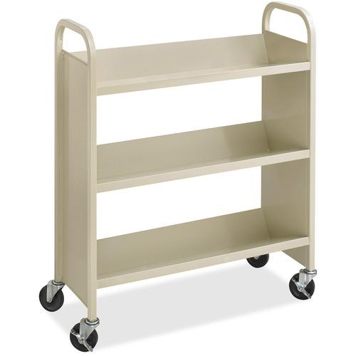 "Safco Steel 3-Shelf Single-Sided Book Carts - 3 Shelf - 2.50"" (63.50 mm) Caster Size - Steel - x 36"" Width x 14.5"" Depth x 43.5"" Height - Sand - 1 Each"