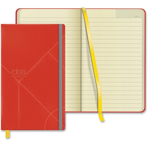 """TOPS Idea Collective Hard Cover Journal - 120 Sheets - 5"""" x 8 1/4"""" - 0.63"""" (15.88 mm) x 5"""" (127 mm)8.25"""" (209.55 mm) - Cream Paper - Red Cover - Acid-free, Durable Cover, Ribbon Marker, Elastic Closure, Pocket - 1Each"""