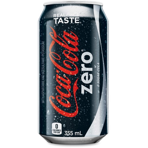 Coca-Cola Canned Coke Zero Carbonated Beverage - Ready-to-Drink Diet - Original Flavor - 355 mL - 24 Cans/Case