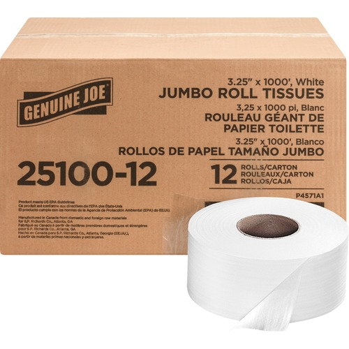 Genuine Joe 2-ply Jumbo Roll Dispnsr Bath Tissue
