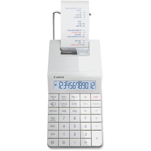 Canon X-MARK I Printing Calculator - Dual Color Print - Ink Roller - 2.3 lps - Backlit Display, Large Display, Angled Display, Low Battery Indicator, Key Rollover, Sign Change, Non-slip Rubber Pad, Auto Power Off, Paper Holder - 12 Digits - LCD - Battery/