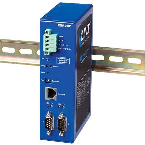 B+B 2 Port Ethernet Serial Server, DIN, Wide Temperature