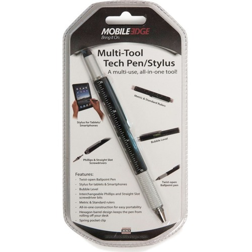 Black Multi- Tool Tech Pen - Twist Pen and Stylus Combo. Twist-Open Ballpoint Pen, Stylus for Tablets , iPads and Smartphones . Bubble Level , Interchangeable Straight slot , and Philips Screwdriver bits, Metric and Standard Rulers All in One Consktructio