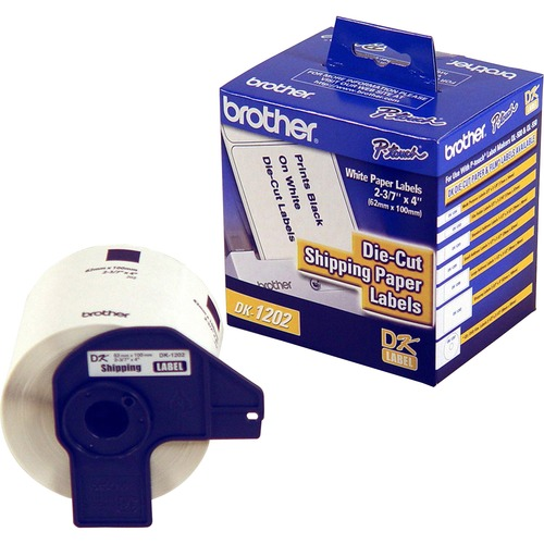 """Brother DK Shipping Labels - 4"""" x 2 2/5"""" Length - White - Paper - 300 / Roll"""