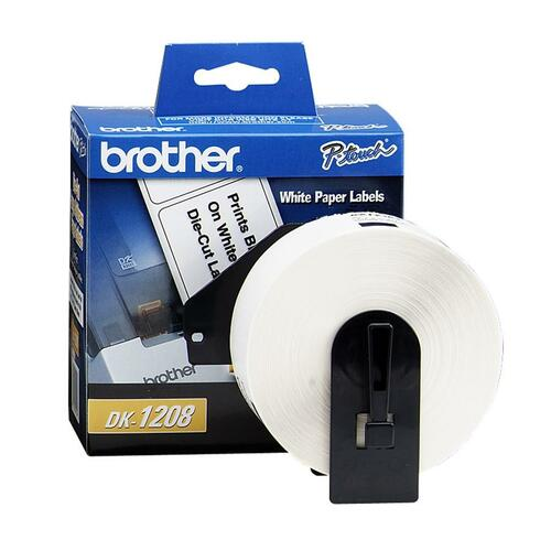 """Brother QL Printer DK1208 Large Address Labels - 3 1/2"""" x 1 1/2"""" Length - Rectangle - Direct Thermal - White - Paper - 400 / Roll"""