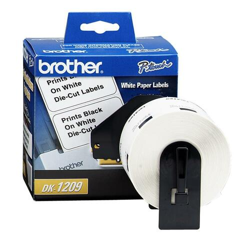"""Brother DK1209 Small Address QL Printer Labels - 1 9/64"""" x 2 27/64"""" Length - Rectangle - Direct Thermal - White - 800 / Roll"""