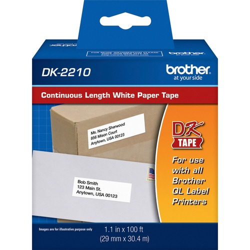 """Brother Continuous Length White Film DK Tape - 1 9/64"""" - Direct Thermal - White - 1 / Roll"""