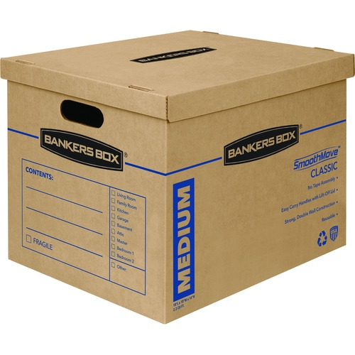 FELLOWES 8PK SMOOTHMOVE MOVING BOX 18X15X14 MEDIUM SIZE W/ATTACHED LID