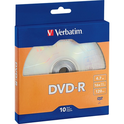 Verbatim DVD-R 4.7GB 16X with Branded Surface - 10pk Bulk Box - TAA Compliant