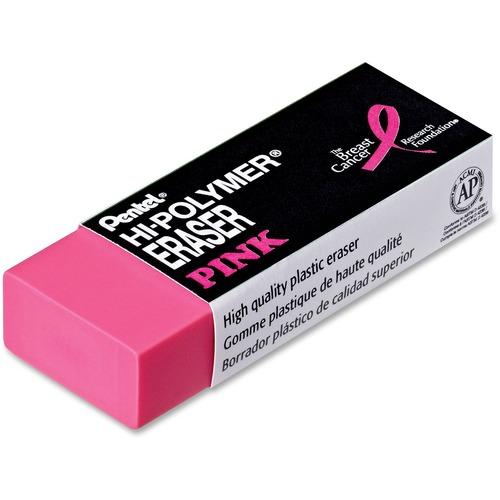 Pentel Hi-Polymer Breast Cancer Awareness Pink Eraser - Pink - Polymer - 1 Each - Smudge Resistant, Smear Resistant, Tear Resistant, Ghost Resistant, Non-abrasive, Latex-free